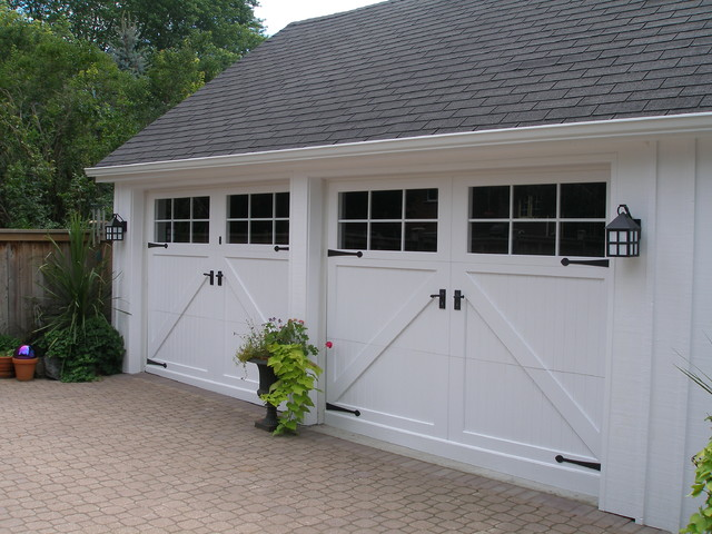 Custom carriage house garage doors farmhouse garage for Farmhouse garage doors
