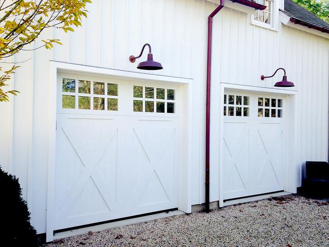 Custom Wood Garage Doors Traditional, Gooseneck Lights Over Garage Doors