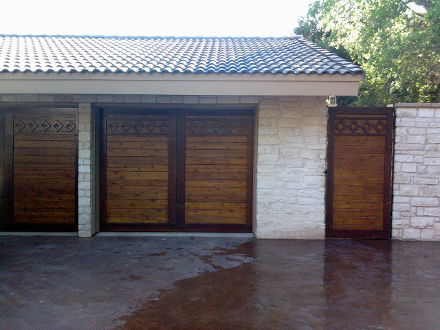 Customized real wood overhead garage doors and gate for Cedar park overhead garage doors