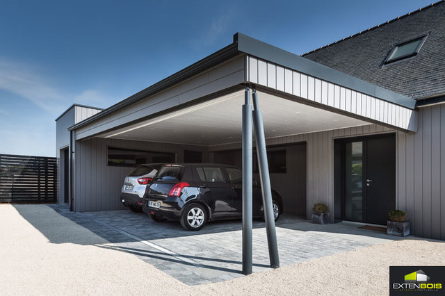 Extension et surelevation avec carport for Extension maison garage