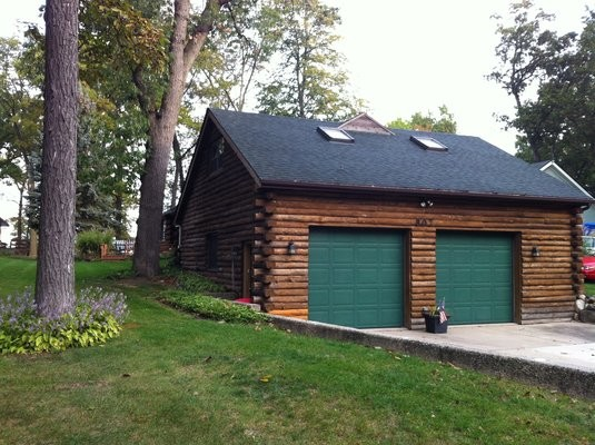 Exterior Staining Two Car Log Cabin Garage Traditional