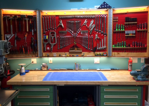 Folding Pegboard Cabinet Doors With Wall Control Red Metal