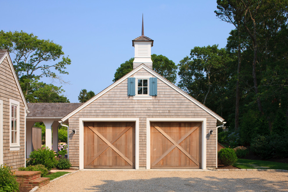Garage - large traditional detached two-car garage idea in Boston