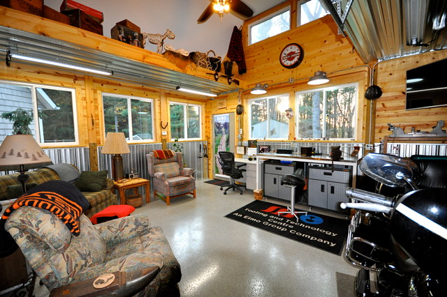 Rustic Garage Man Cave Ideas : Garage addition man cave interior rustic
