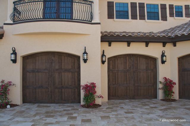 Garage Doors In Clear Pecky Cypress Mediterranean
