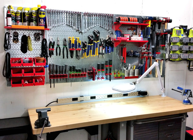 Garage pegboard tool organization with wall control for Arts and crafts garage