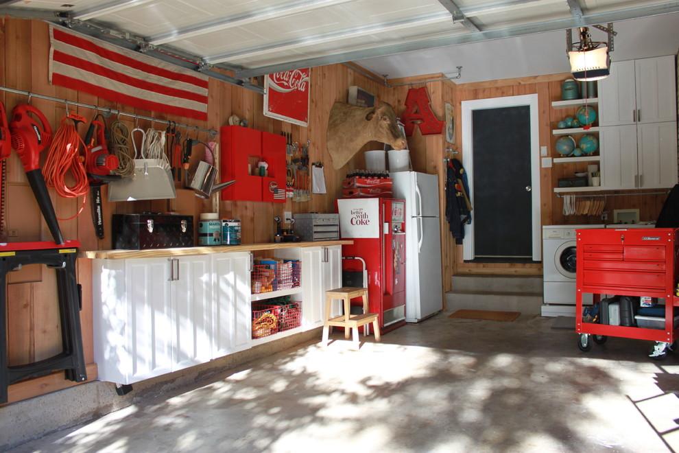 Garage - eclectic one-car garage idea in Dallas
