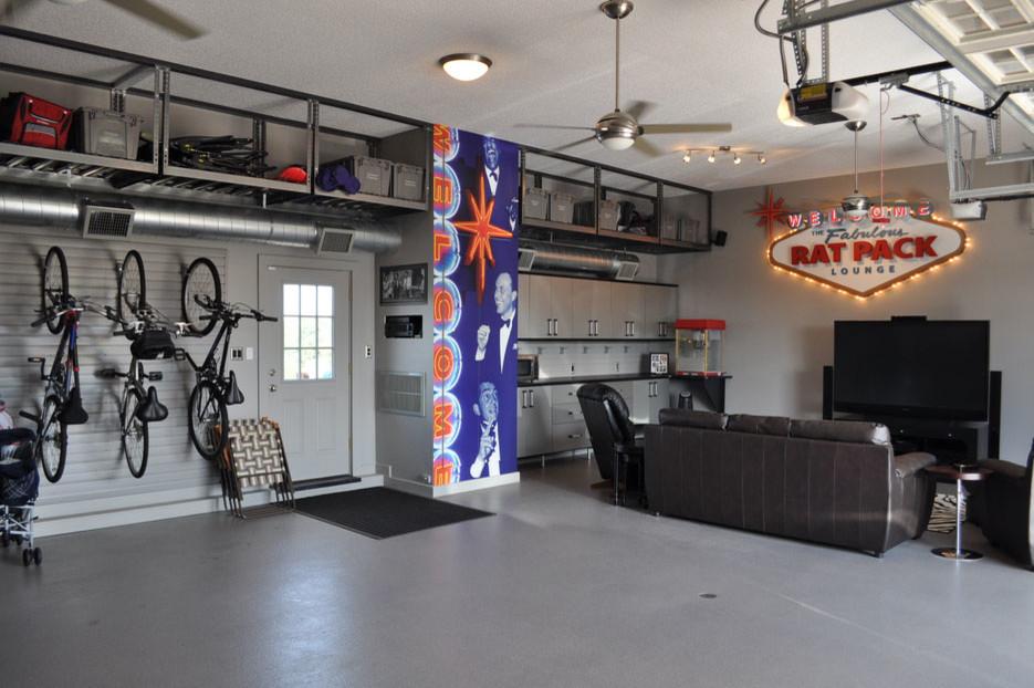 Garage workshop - large eclectic attached garage workshop idea in San Francisco