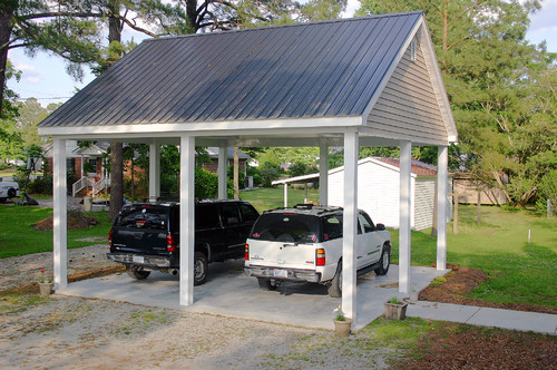 What are the dimensions on a 2 car carport for Open carports