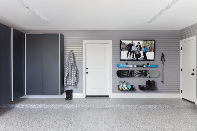 Granite Sliding Cabinet Doors with Extruded Pulls contemporary-garage