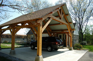 Heavy timber porte cochere in east tennessee arts for Arts and crafts garage
