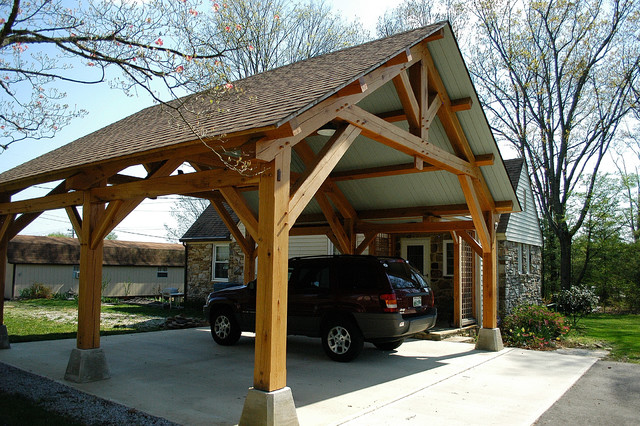 Heavy timber porte cochere in east tennessee arts for Garage column wrap