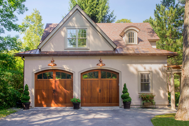 Ex&le of a classic detached two-car garage design in Boston & Garage Doors | Houzz pezcame.com