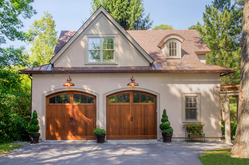 Elegant exterior of a two stall garage.
