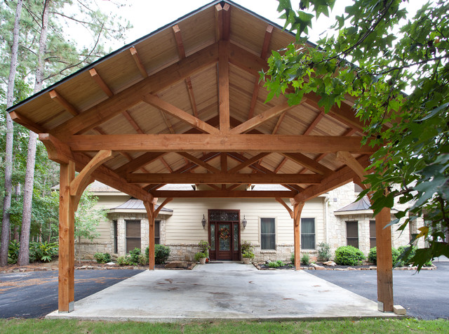 Houston timber frame traditional garage houston by for Garage with carport designs