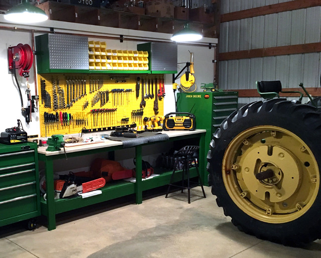 John Deere Themed Industrial Pegboard Work Bench Area For