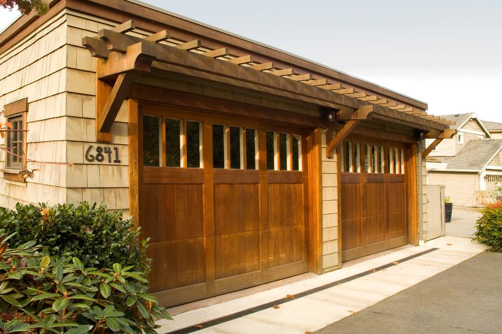 Garage - craftsman two-car garage idea in Seattle