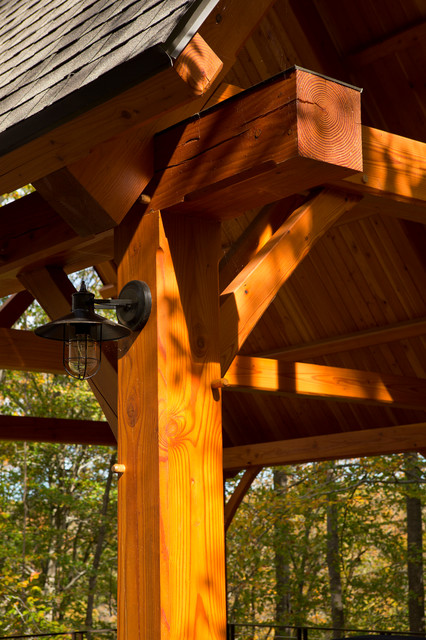 Lakeside Timber Frame Home and Pavilions - Rustic - Garage