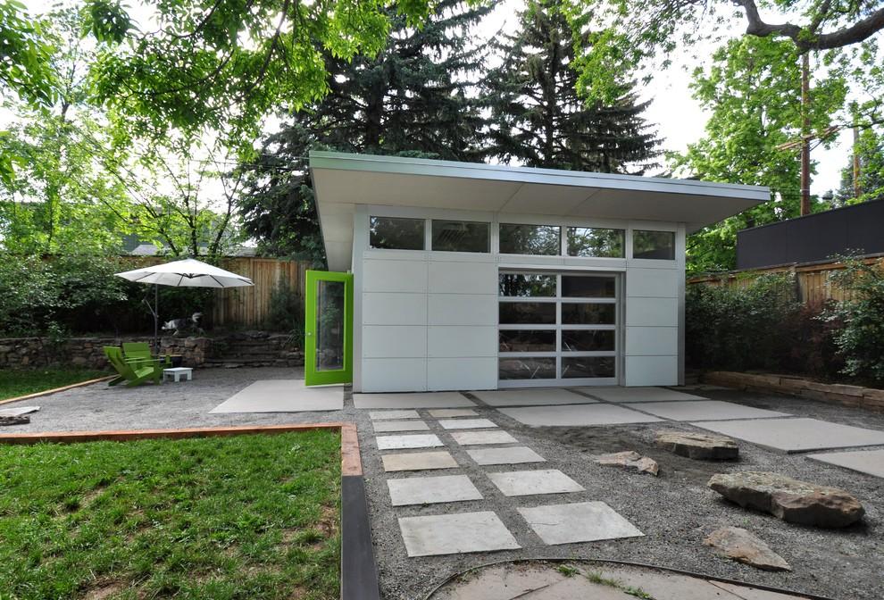 Landscaping Outside The Prefab Garage Taking Shape Modern Garage Denver By Studio Shed Live Large Build Small