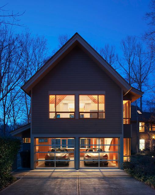 Laurel hills studio garage contemporary garage for Two story garage with loft