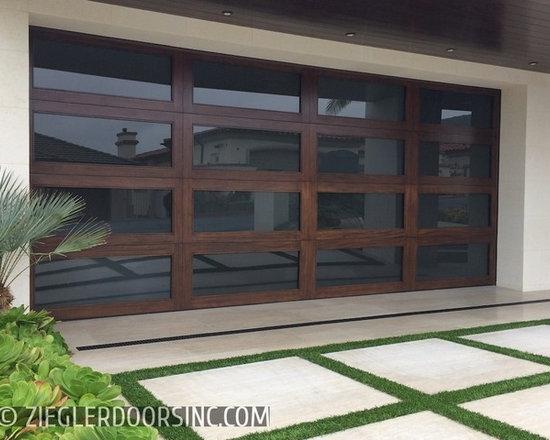 Los Angeles Modern Garage Door and Matching Entry Door -