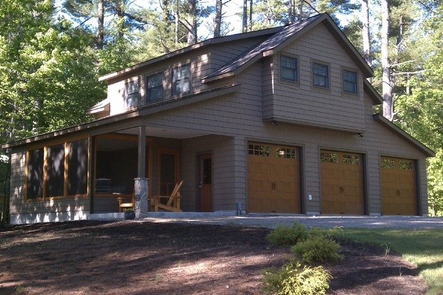 Maine lake cottage craftsman garage and shed other for 3 car garage plans with living quarters