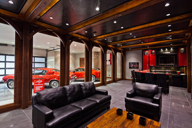 Man cave dream garage traditional garage and shed for Cool garage interior designs