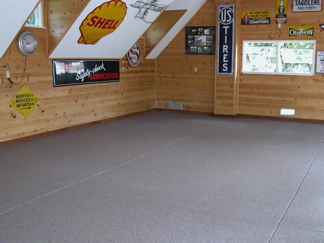 Man cave durable epoxy flooring solution contemporary for Man cave garage floor ideas