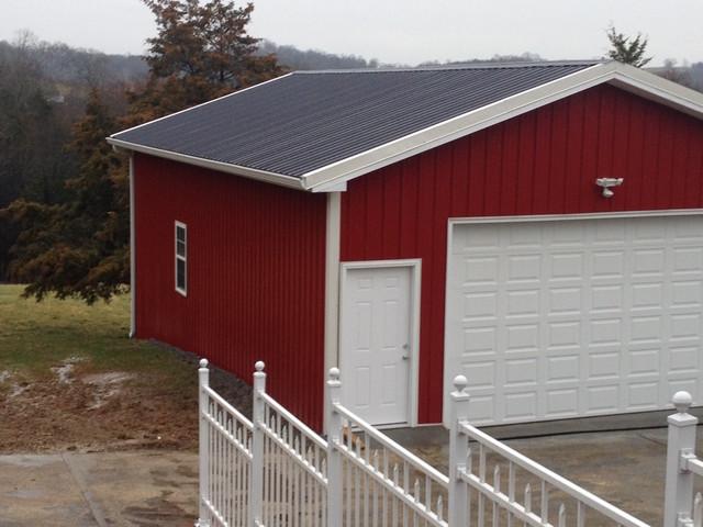 Metal pole barn garage clarksville tn farmhouse for Red metal barn