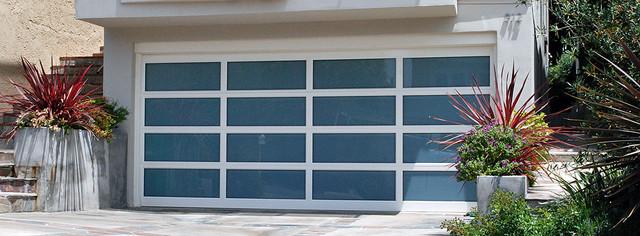 Modern Garage Doors Aluminum Full View Frosted Glass