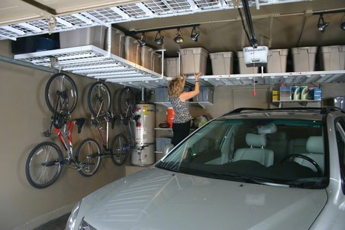 DIY garage organization may also include overhead, ceiling mounted  storage platforms