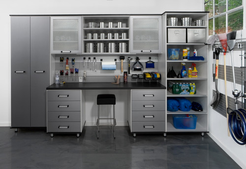 DIY garage organization means using shelves, drawers & wall hooks to give everything a home