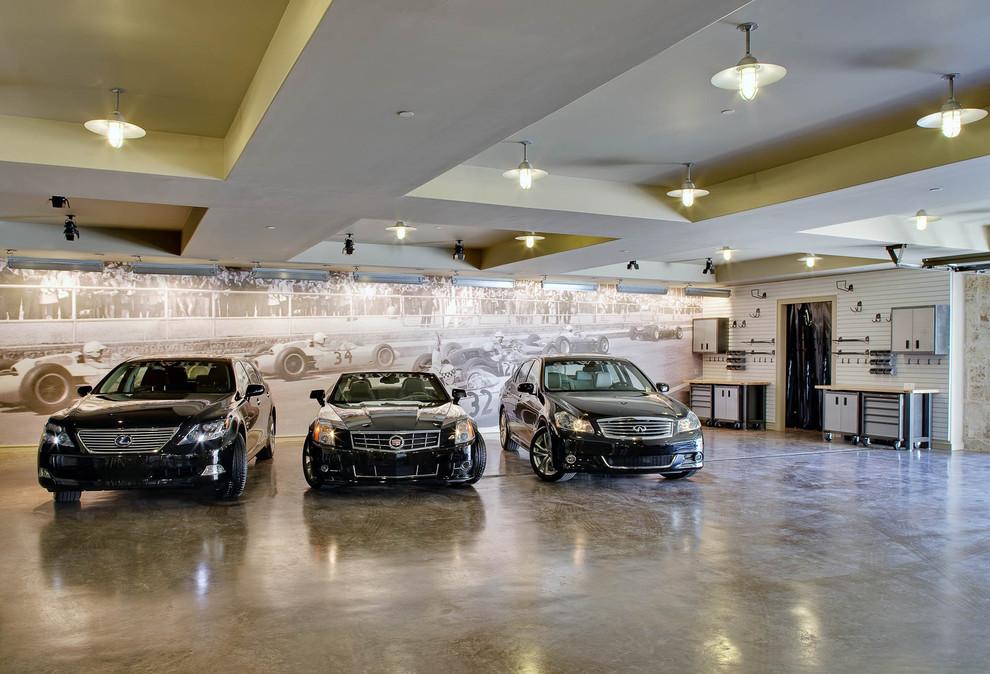Tuscan four-car garage photo in Dallas