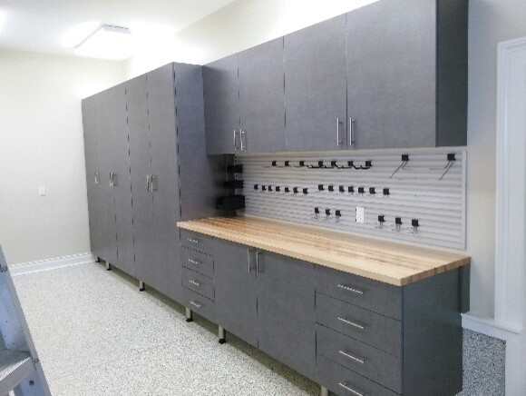 Pewter cabinets with omni track workbench shed for Omni garage door