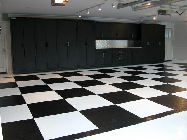 Powder Coated Steel Cabinets & Epoxy Checker Board Floor - Contemporary - Garage - san francisco ...