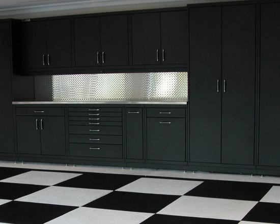 Powder Coated Steel Cabinets & Epoxy Checker Board Floor -