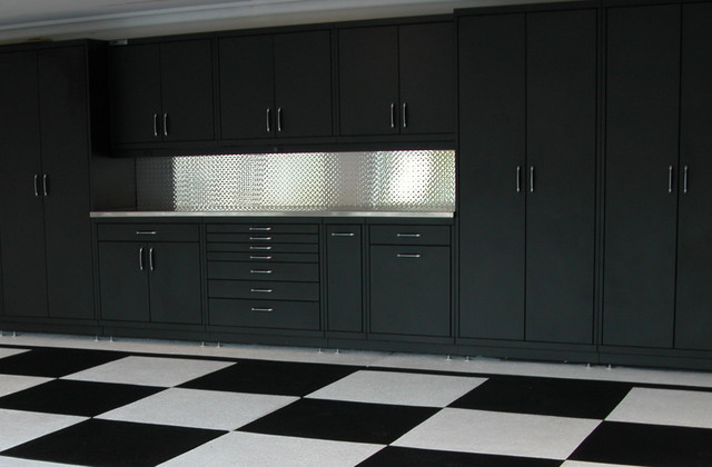 Powder Coated Steel Cabinets & Epoxy Checker Board Floor - Contemporary - Garage And Shed - san ...