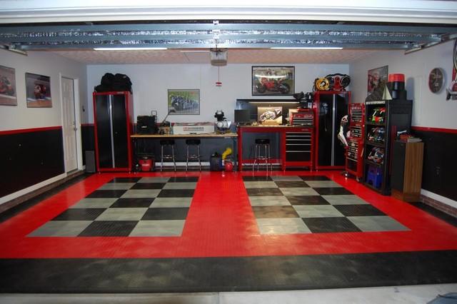 RaceDeck Garage Flooring - Black Red and Alloy Diamond ...