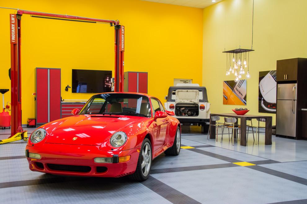 Garage - three-car garage idea in Miami