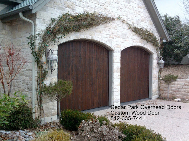 Real wood overhead garage doors rustic garage austin for Cedar park overhead garage doors