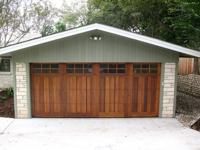 Real wood overhead garage doors craftsman garage for Cedar park overhead garage doors