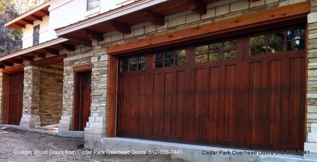 Real wood overhead garage doors traditional garage for Cedar park overhead garage doors