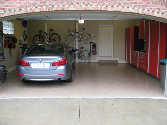 Red garage cabinets modern garage other by custom for Custom 2 car garage