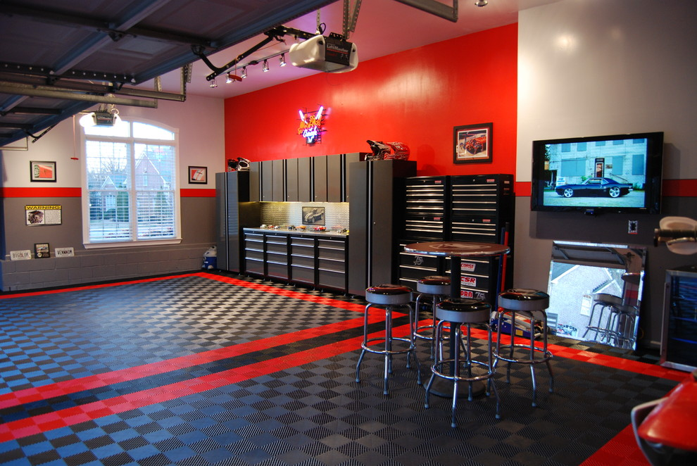 Inspiration for a mid-sized attached garage remodel in Salt Lake City