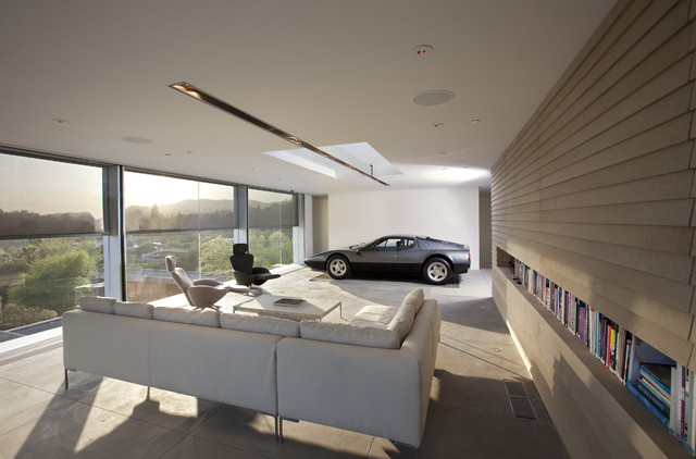 retractable screens at the ultimate garage contemporary. Black Bedroom Furniture Sets. Home Design Ideas