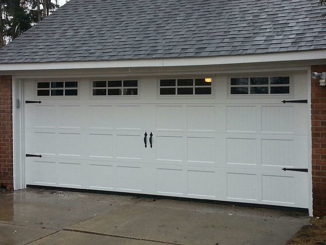 Ribbed short panel insulated garage door with windows for Insulated garage door window inserts