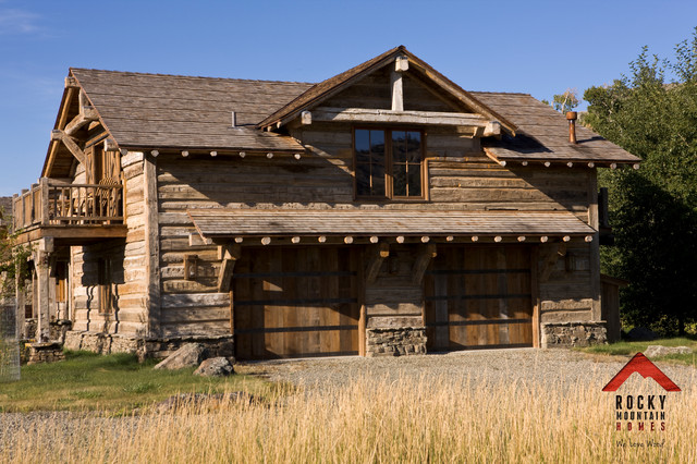 Riverside rustic rocky mountain homes rustic garage for Rocky mountain home builders