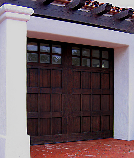 Rustic spanish carriage style garage door in santa barbara for Carriage style garage doors for sale