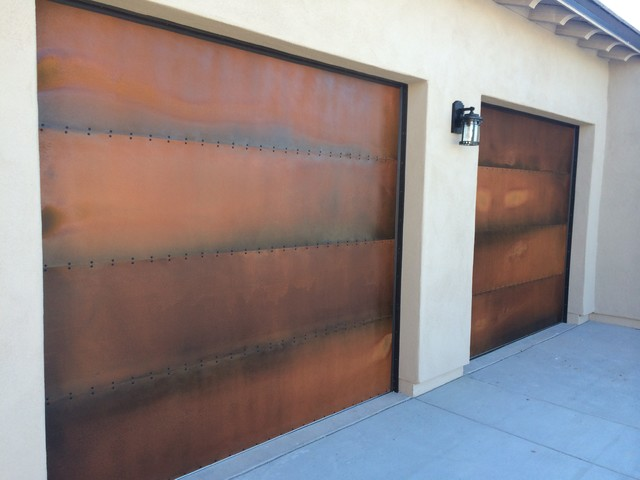 Rustic Steel Patina Garage Doors Industrial Garage