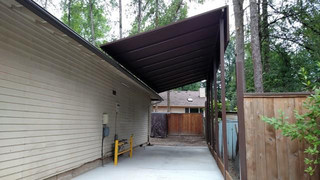 Rv carport canopy craftsman garage portland by for Craftsman carport